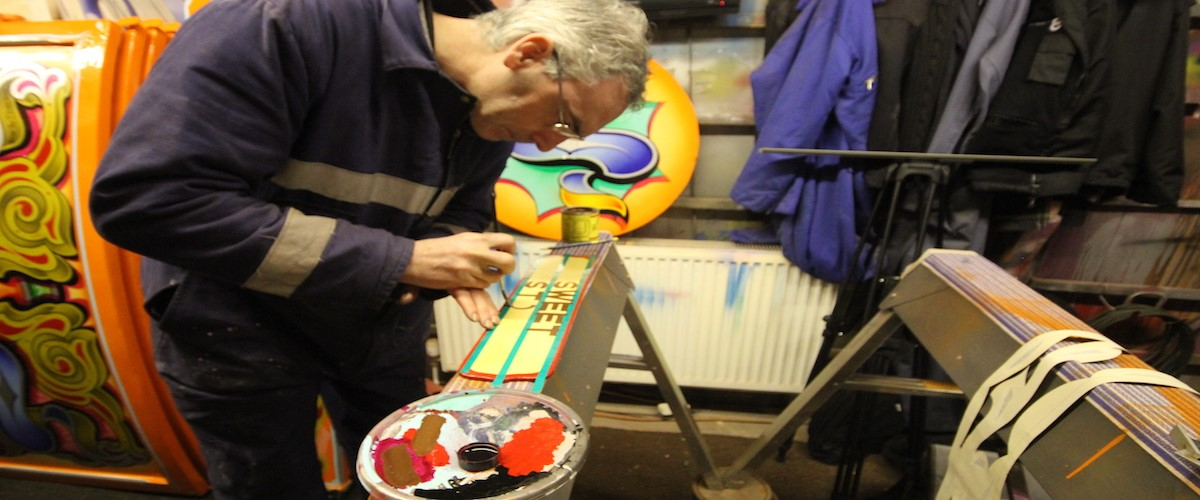 Showpeople exhibition - Mirror being prepared for display