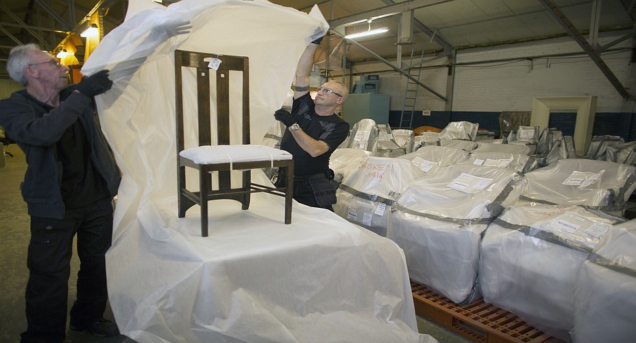 Mackintosh chair being prepared for move to Kelvin Hall